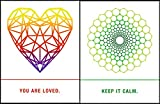 "Quiplip EM02106PCK Sacred Geometry Greeting Cards""Loved, Calm"", 6-pack"