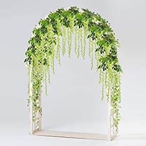 Bomarolan Wisteria Artificial Silk Vine Flowers Fake Hanging Garland for Wedding Arch Backdrop Decor 3 5/8 Feet Pack of 12 Pieces(Green) 28