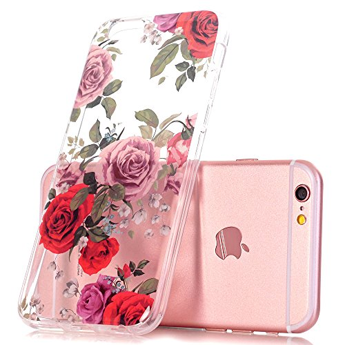 iPhone 6 Plus Case, iPhone 6s Plus Case, Floral Flower Design Clear Case, JDBRUIAN TPU Soft Protective Case Flexible Silicone Glossy Skin Cover Phone Case for iPhone 6 Plus & 6s Plus Red Roses (Red Case Phone Clear Skin)