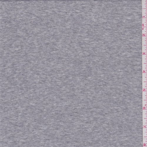 Rib Knit Material (Heather Grey Cotton Rib Knit, Fabric By the Yard)