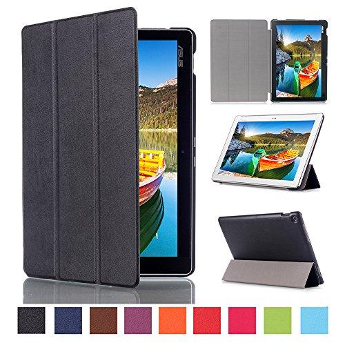 Tri-Fold Leather Case for Asus Zenpad 10 Z300CL (Black) - 1