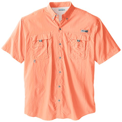 Cotton Short Sleeve Fishing Shirt (Columbia Men's Bahama II Short Sleeve Shirt, Bright Peach, 2X Tall)