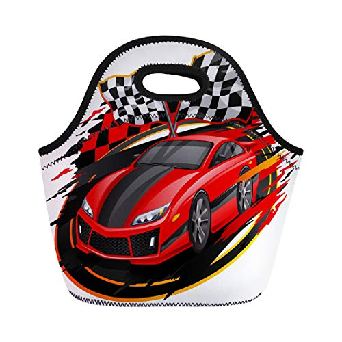Semtomn Lunch Tote Bag Red Race Speeding Racing Car Checkered Flag Racetrack Orange Reusable Neoprene Insulated Thermal Outdoor Picnic Lunchbox for Men Women