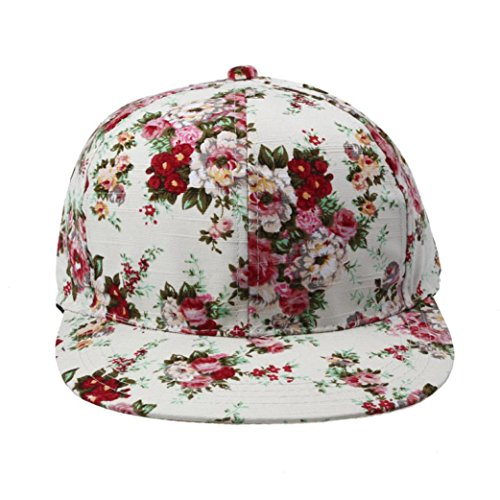 Oksell® Women Floral Adjustable Flat Unisex Snapback Hip Hop Hat Baseball Cap - Men's Snapback Floral