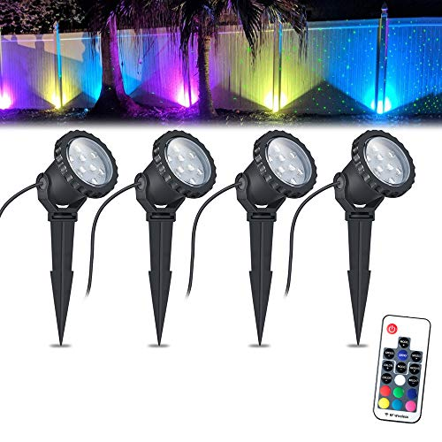 (COVOART Color Changing LED Landscape Lights 8W Landscape Lighting IP66 Waterproof LED Garden Pathway Lights Walls Trees Outdoor Spotlights with Spike Stand, Outdoor Landscaping Lights, 4 Pack)