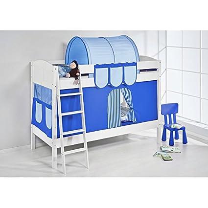 Accessori Per Letti A Castello.Letto A Castello Set Blu Bianco Accessori Tenda Bambini Letto Letto