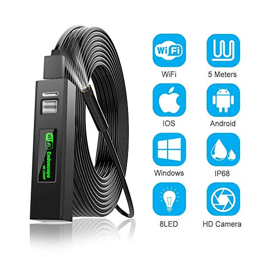 Wireless Endoscope, WiFi Borescope Inspection Camera, 2.0 Megapixels 1200P IP68 Waterproof 8 LED Lights Snake Camera for iPhone Android iOS Windows Mac (5M)