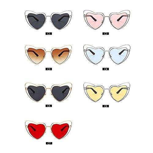 Soleil Lunettes pour Les pour métal Wenjack de Forme Plage Protection Coeur de en Vacances Femmes Cadre Les Hommes Ultra été Conduire Plein UV C4 Femmes légères PqnwZROP