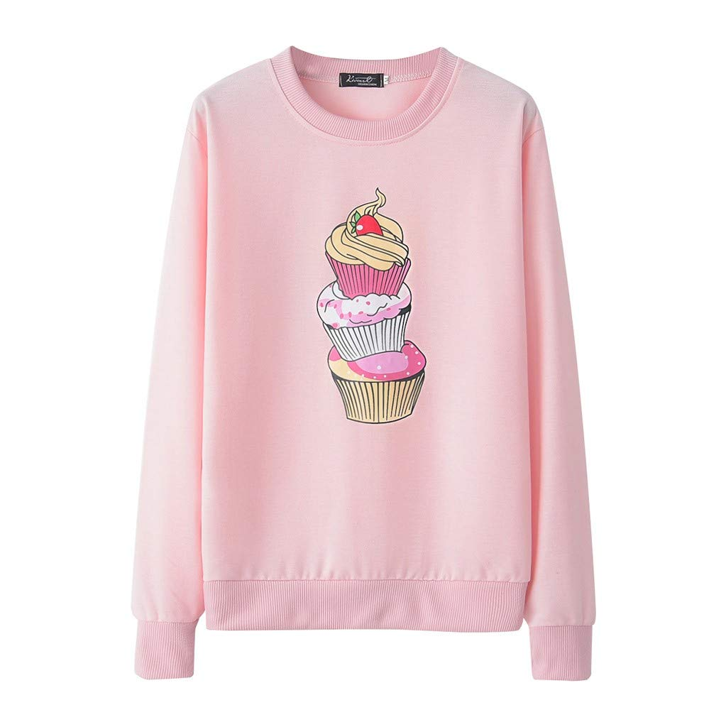 Fashion Women Casual Pullovers Loose Long Sleeve Print Sweatshirt Tops Crew Neck Shirt Pink