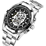 Men's Watches Skull Skeleton Mechanical Fashion Business Automatic Self Winding Punk Style with Stainless Steel Band Wrist Watch Silver