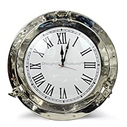 Beautiful Nautical Aluminum Nickel Polished Premium Large Home Decor Wall Clock | Ship's Porthole Time's Clock | Metal Craft Gift | Nagina International (12 Inches)