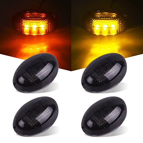 Catinbow For 1999-2010 Ford F350 F450 F550 Supper Duty Dually Bed Marker LED Lights Side Fender Marker Light 2x Amber & 2x Red Kit Led Light