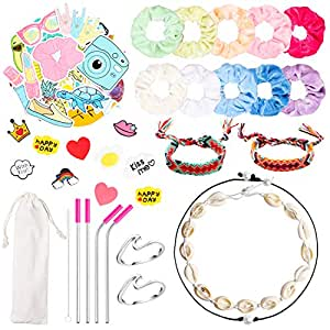 PANTIDE 65Pcs VSCO Stuff Set-VSCO Stickers, Velvet Hair Scrunchies, Shell Necklace Choker, Wave Rings, Nepal Woven Friendship Bracelets, Metal Straws with Brush and Storage Bag, Shoes Charms