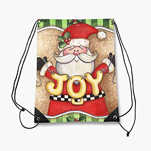 Sackbag Drawstring Bag Lightweight Waterproof Idea for Gym Shopping Sport Yoga- Joy Snowman