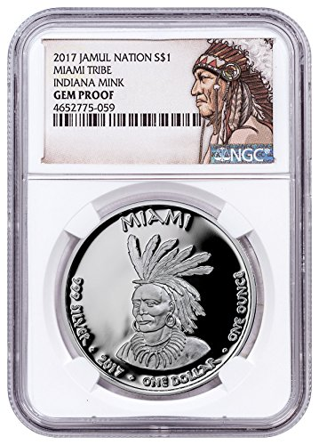 2017 Native American Silver Dollar - Indiana Miami - Mink 1 oz Silver Proof Coin Native American Label $1 GEM Proof - Gem 1 Silver Oz Proof