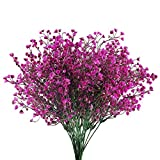 GTIDEA Artificial Outdoor Plants Fake Plastic Shrubs Bushes Farmhouse Faux Flowers Home Table Vase Centerpiece Bridal Wedding Bouquet Cemetery Decor Pack of 4 (Purple)