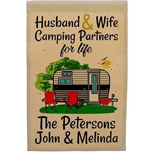 Happy Camper World Husband & Wife Camping Partners for Life, Personalized Camping Flag, Travel Trailer Campsite Sign (Black/Gray) ()