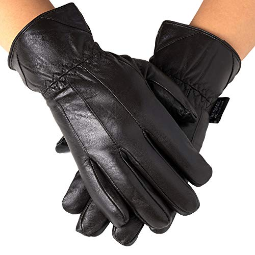 Alpine Swiss Mens Touch Screen Gloves Leather Thermal Lined Phone Texting Gloves BRN M