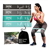 MVN Resistance Bands Set Exercises Guide Printed on Loop Bands to Tone Legs Butt Core and Arms Pilates Yoga Fitness Physical Therapy Rehabilitation (Green)