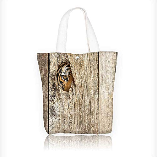 - Canvas Tote Handbag Tiger Eye Looking Through Wooden Peep Hole in Spy PredatorCat Wild Theme Shoulder Bag Purses For Men And Women Shopping Tote W11xH11xD3 INCH