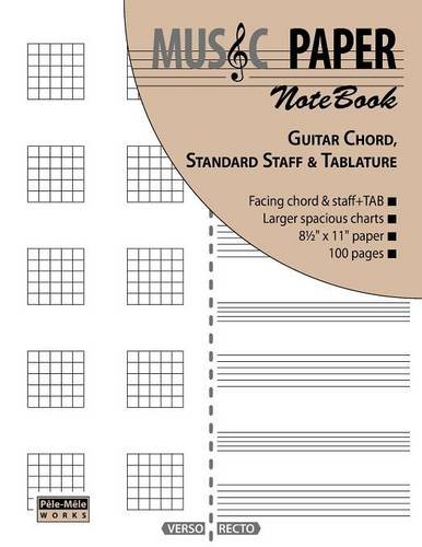 MUSIC PAPER NoteBook - Guitar Chord, Standard Staff & Tablature (Guitar Blank Sheet Music compare prices)