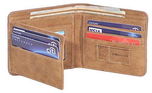 Yuhan Pretty Mens Wallet Vintage RFID Blocking Leather Bifold Wallet Trifold (PU Horizontal Coffee)