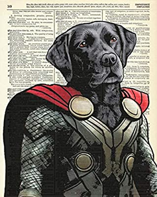 Thor Dog Super Hero Vintage Wall Art Upcycled Dictionary Art Print Poster Kids Room Decor 8x10 inches, Unframed