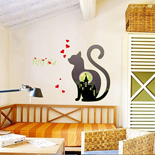 Luminous Wall Sticker - 1 Piece Luminous Animal Black Cat Heart City Wall Sticker Night Light Bedroom Living Room Fluorescent Wall Decals Mural - Glow Diy The Keyboard In Dark