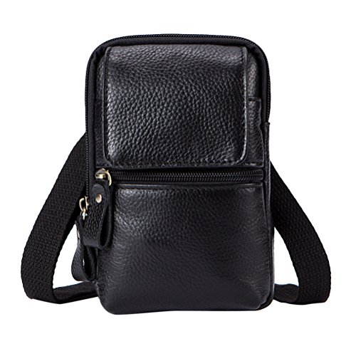 Black Briefcase Zhhlaixing Mini Shoulder Bag Travel Crossbody Mens Messenger Father Lightweight Adjustable Leather de Gifts Mans Bolsa Christmas hombro AUqAxZ