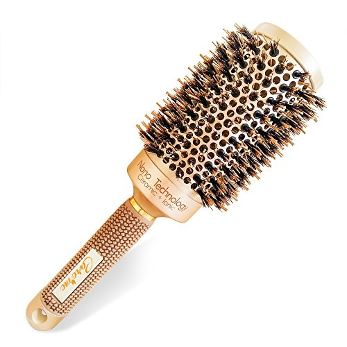 Blow Dry Round Hair Brush with Natural Boar Bristles for Blow-drying | Straightening - Best Roller Brush for Long hair or Want Straight | Wavy Smooth Hair - Brush Hair Dry