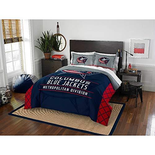 3 Piece Full - Queen Official NHL Columbus Blue Jackets Metropolitan Division Red Navy Comforter Set, Modern Elegant Print Kids Bedding Set, Sports Collegiate Polyester Material Teen Comforter Set