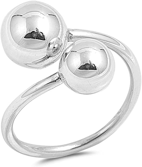 Ball Clear CZ Cluster Classic Ring New .925 Sterling Silver Open Band Sizes 4-10