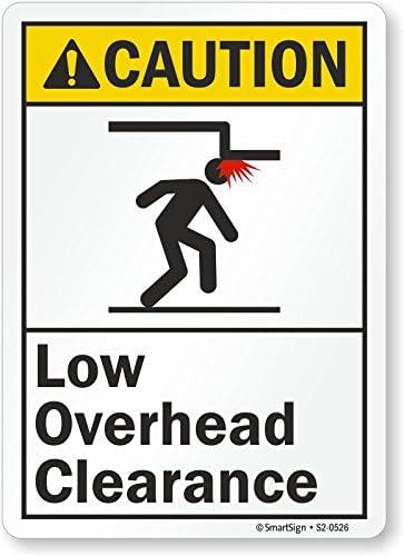 Smartsign S2-0526-AL-14Caution Low Overhead Clearance Aluminum Sign