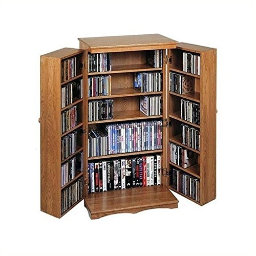 Bowery Hill 40'' CD DVD Media Storage Cabinet in Dark Oak