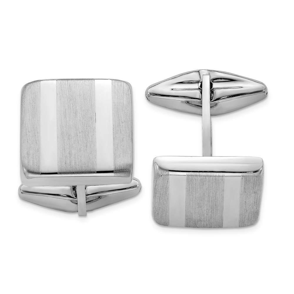 Jewel Tie Sterling Silver Polished /& Satin Striped Cuff Link