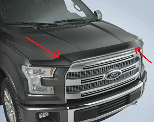 Oem Stock Factory 2015 F-150 Low Profile Smoked Black Color Hood Deflector (Smoked Color)