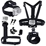 EySen Pro 9 in 1 Accessories Kit for Gopro Hero 5, 4, 3+, 3, 2 Camera Include Head Strap Mount+ Chest Mount+ Shoulder Harness Mount+ 360 Degree Rotating Wrist Mount+ Hat Clip+ Thumb Screw+ J-Hook