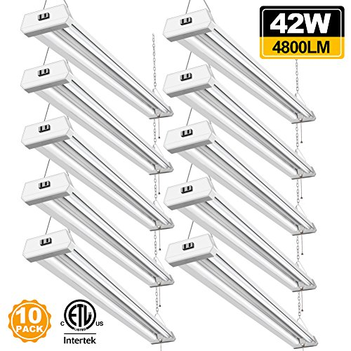 42W Linkable LED Shop Light for Garage BBOUNDER 4FT 4800 Lumen 5000K Daylight Super Bright Garage Light Surface and Hanging Mounting for Warehouse Basement Garage Workbench Recreation Room (10 Pack)