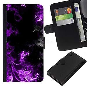 // PHONE CASE GIFT // Moda Estuche Funda de Cuero Billetera Tarjeta de crédito dinero bolsa Cubierta de proteccion Caso Sony Xperia Z2 D6502 / Purple Smoke /
