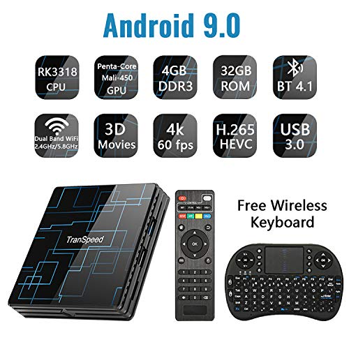 Android TV Box 9.0 4GB RAM 32GB ROM Set Top Box Smart TV Box RK3318 USB 3.0 Ultra HD/4K/HDR Dual Band WiFi 2.4GHz&5.8GHz BT 4.1 Streaming Media Player with Wireless Keyboard-TR99 Mini+ 4G+32G