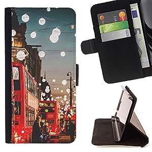 Super Marley Shop - Funda de piel cubierta de la carpeta Foilo con cierre magn¨¦tico FOR Apple iPhone 4 4S 4G- London City Love it United Kingdom