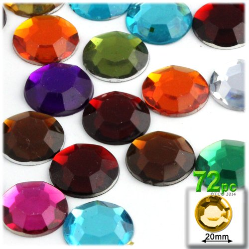 The Crafts Outlet 72-Piece Round Rhinestones, 20mm, Jewel Tone Assortment