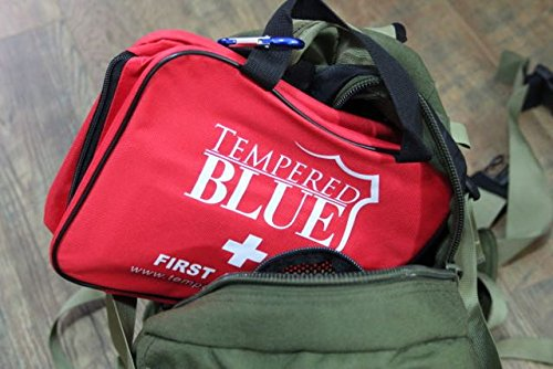 First Aid Kit – Medical Kit – 115 Pieces With Bag and Supplies for First Aid Care From Tempered Blue Offers Preparedness for Emergency Injury Trauma and Disaster in a Family Size Friendly Nylon Bag – Be Prepared Now!