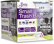 Color Scents Small Trash Bags - 4 Gallon, 200 Total Bags (1 Pack of 200 Count), Drawstring - Silver Bag in Lin