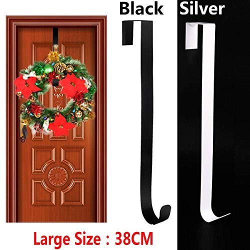 2 S-Shaped Metal Hangers-Christmas Wreath Door Hanger Secure Strong Metal Hook Xmas Decoration 38cm Reef Hook Stake for Bird Feeder, Birdhouse, Outdoor Decor, air Plant Orbs, Lights, Lanterns, Flower