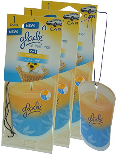 Glade Hanging Paper Candle Design Car & Home Air Freshener, Sunny Days & Clean Linen (Pack of 3) (Clean Linen Car Freshener)