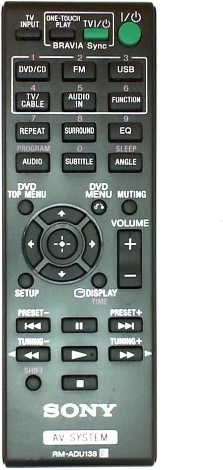 New OEM Replacement RM-ADU138 Audio/Video Receiver Remote Control for Sony DAV-TZ140 HBD-TZ140