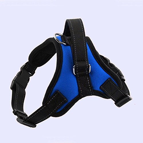 MoMo Technology Pet Vest Harnesses,Adjustable Heavy Duty Fabric Soft Padded Reflective Dog Vest Harness with Handle on Top for Labrador retriever Training Walking, Large Medium Size. (M, Blue)
