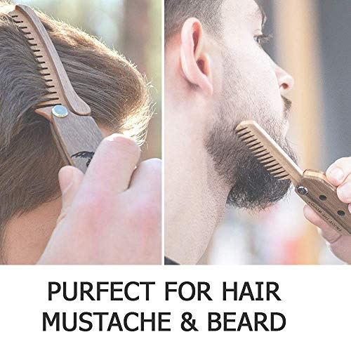 Beard Comb for Men – Pocket Folding Combs for Mustache & Hair Travel Natural Wooden Comb with Skull Engraving – Perfect…