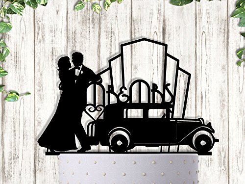 Gatsby Art Deco Couple Dancing Wedding Cake Topper -